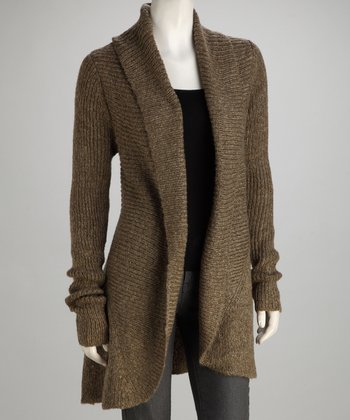 Khaki Knit Long-Sleeve Open Cardigan