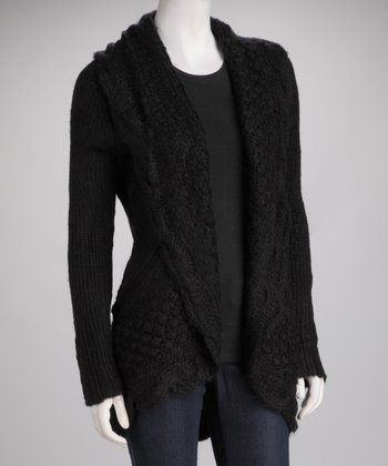 Black Knit Wool-Blend Open Cardigan