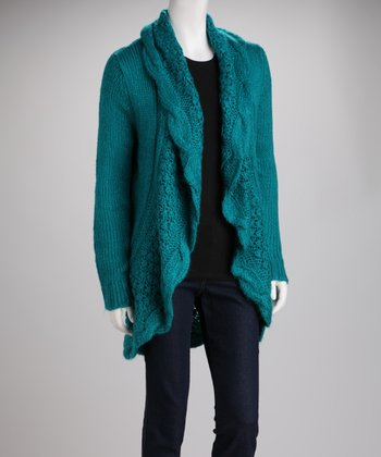 Blue Knit Wool-Blend Open Cardigan