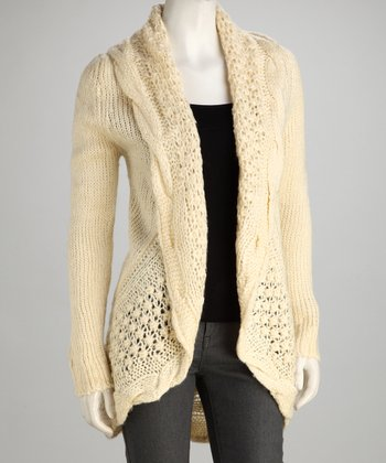 Off-White Knit Wool-Blend Open Cardigan