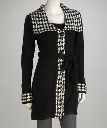 Black Knit Wool-Blend Wing Collar Jacket