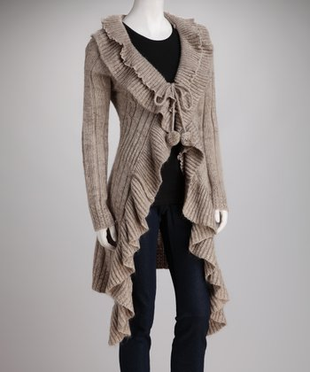 Camel Knit Pom-Pom Wool-Blend Cardigan
