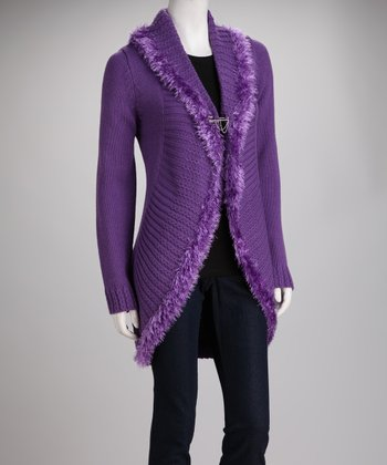 Purple Knit Fringe Open Cardigan