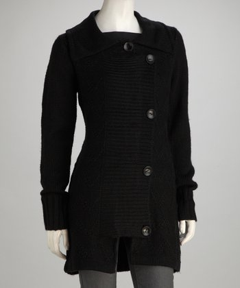 Black Knit Fold-Over Wool-Blend Jacket