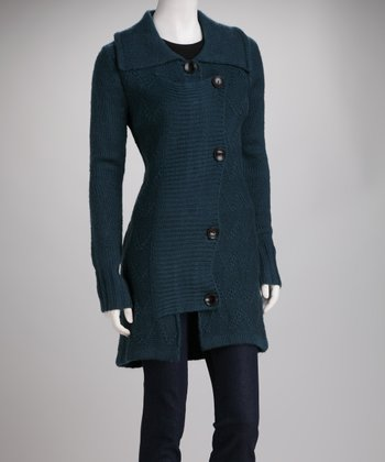 Blue Knit Fold-Over Wool-Blend Jacket