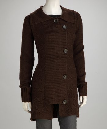 Brown Knit Fold-Over Wool-Blend Jacket