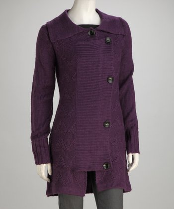 Purple Knit Fold-Over Wool-Blend Jacket