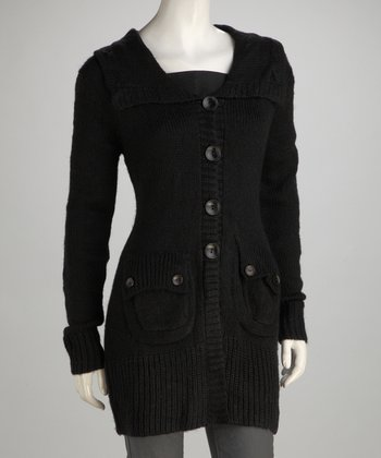 Black Knit Flap-Pocket Wool-Blend Jacket