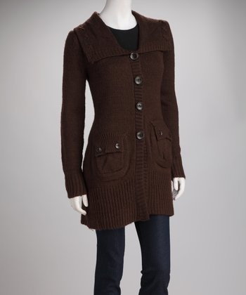 Brown Knit Flap-Pocket Wool-Blend Jacket