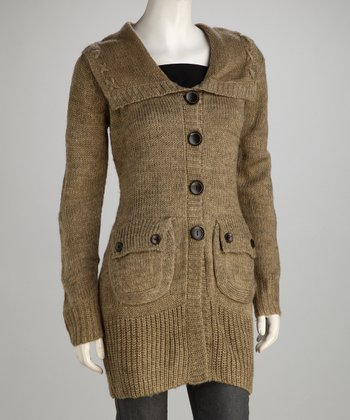 Gold Beige Knit Flap-Pocket Wool-Blend Jacket