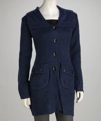 Navy Knit Flap-Pocket Wool-Blend Jacket