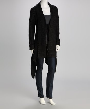 Black Textured Knit Wool-Blend Duster