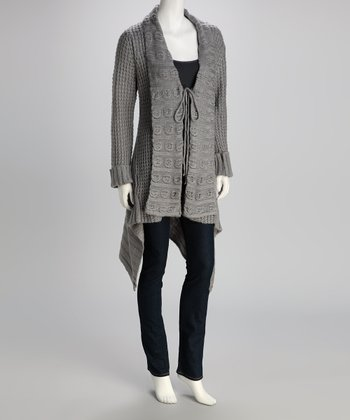Gray Textured Knit Wool-Blend Duster