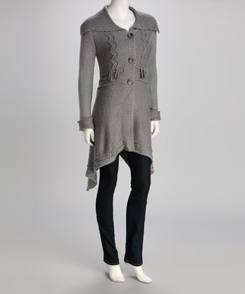 Gray Knit Wool-Blend Duster