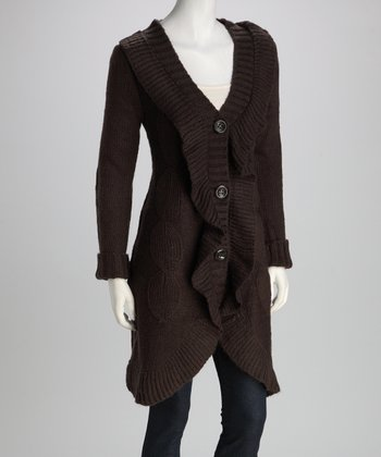 Brown Ruffle Knit Wool-Blend Duster - Women