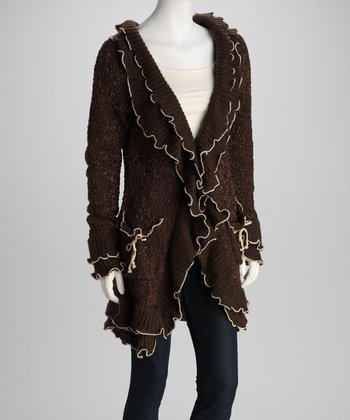 Brown Contrast-Ruffle Knit Jacket