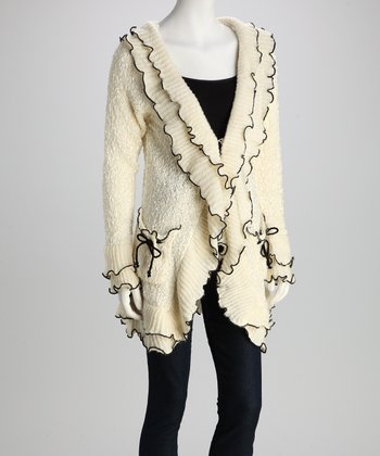 Off-White Contrast-Ruffle Knit Jacket