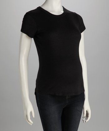 Black Shine Maternity Cap-Sleeve Top