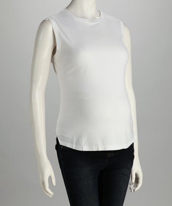 White Maternity Sleeveless Top