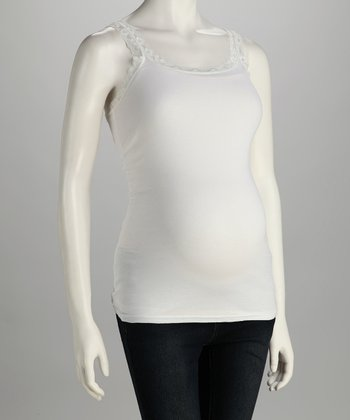 White Lace Maternity Tank