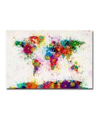 Paint Splashes World Map Gallery-Wrapped Canvas