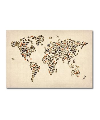 Cat World Map Gallery-Wrapped Canvas