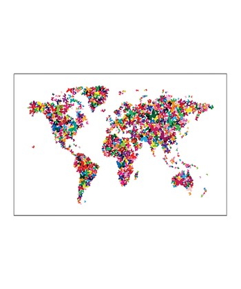 White Butterflies World Map Gallery-Wrapped Canvas