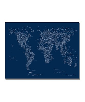 Blue Font World Map Gallery-Wrapped Canvas