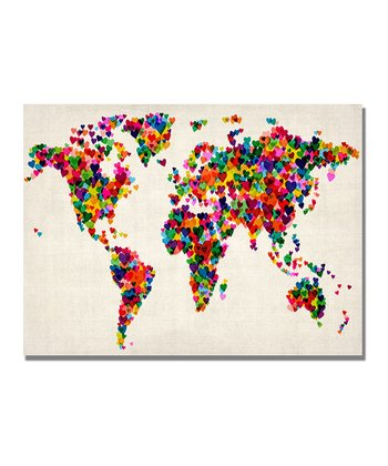 Hearts World Map Gallery-Wrapped Canvas