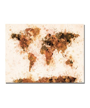Bronze Paint Splash World Map Gallery-Wrapped Canvas