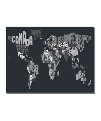 Grayscale Font World Map Gallery-Wrapped Canvas
