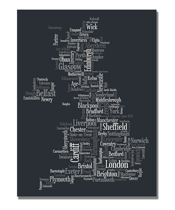 UK Font Cities Map Gallery-Wrapped Canvas