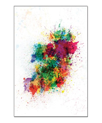Paint Splashes Ireland Map Gallery-Wrapped Canvas