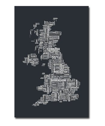 Grayscale Cities Text UK Map Gallery-Wrapped Canvas