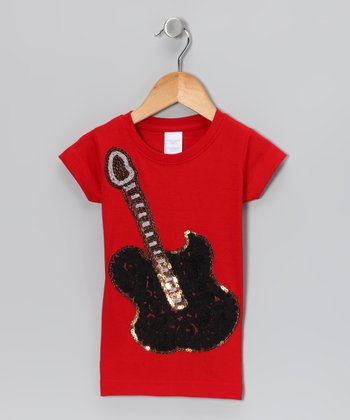 Red Sequin Guitar Tee - Girls