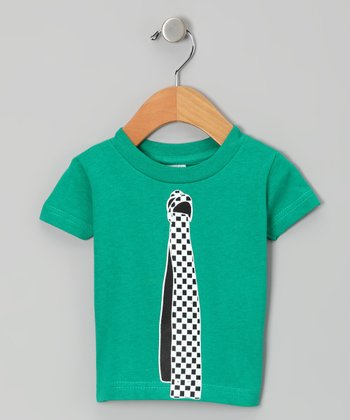 Green Checker Tie Tee - Infant, Toddler & Boys