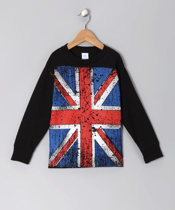 Black Vintage British Flag Tee - Infant, Toddler & Boys