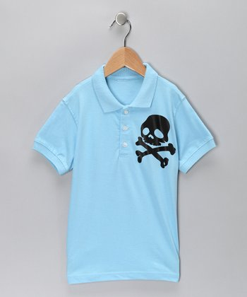 Light Blue Skull Polo - Toddler & Boys