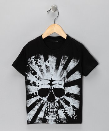 Black Skull Sunburst Tee - Toddler & Boys