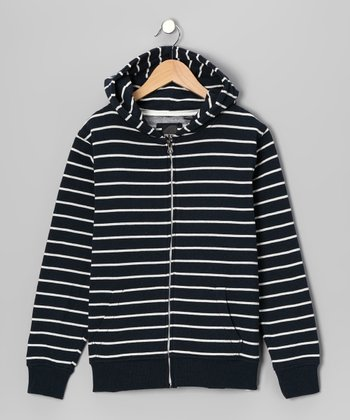 Navy & Cream Stripe Zip-Up Hoodie - Boys
