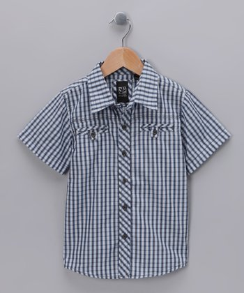 Blue Plaid Button-Up - Toddler