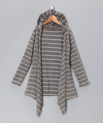 Gray Stripe Open Cardigan - Girls