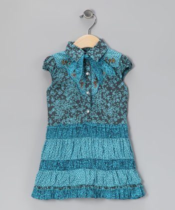 Blue Patchwork Western Dress - Infant