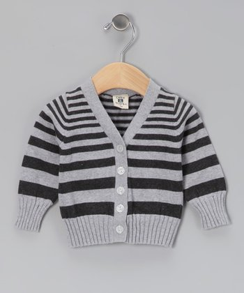 Black & Gray Stripe Cardigan - Infant, Toddler & Girls