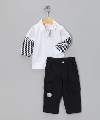 White & Navy Layered Polo & Pants - Infant & Boys