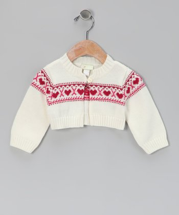 White & Red Heart Cardigan - Infant
