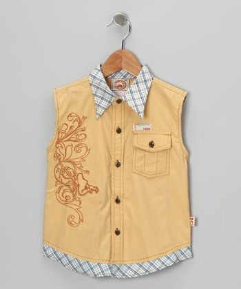 Yellow Plaid Sleeveless Button-Up - Boys