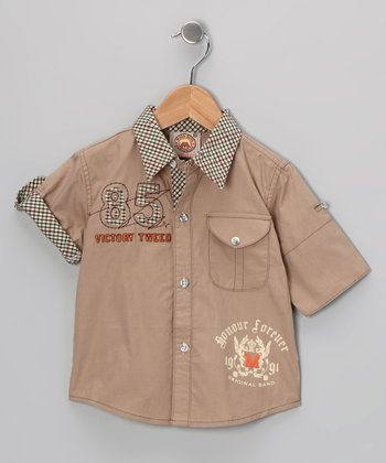 Brown '85' Button-Up - Toddler