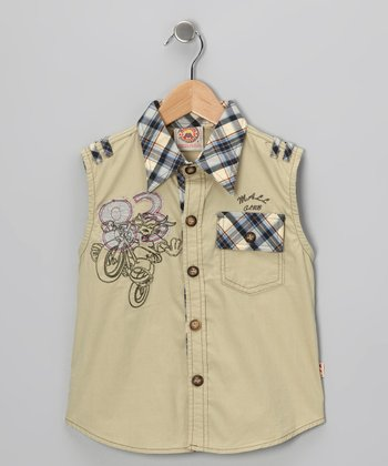 Green '83' Sleeveless Button-Up - Boys