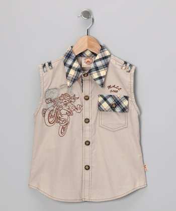 Tan '83' Sleeveless Button-Up - Boys